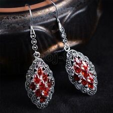New Fashion 925 Sterling Silver Red Ruby Gem Drop Dangle Earrings Jewelry