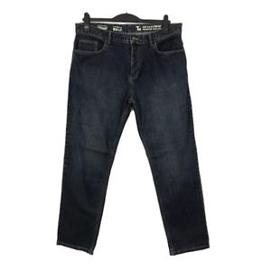 TU Men's Blue Dark Wash Zip Fly Straight Leg Jeans W36 L32