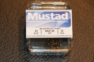 25 Pack Mustad 35647BR Bronze Size 14 Round Bend Treble Hooks Trout