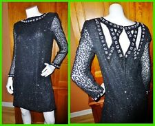 Vtg SCALA ART DECO Silk Sequin Bead EMBROIDERED Black Formal Evening DRESS