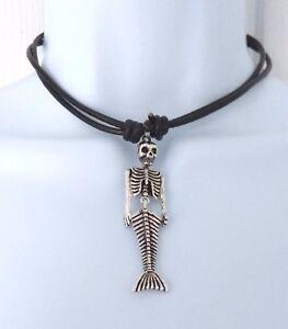 Goth Rock LADIES HEAVY LEATHER THONG Necklace Pendant Choker MERMAID SKELETON