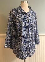 Size 3X Apt 9 Blue White Reptile Print Button Down Shirt Top Blouse Women's Plus