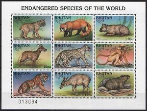 Bhutan 1997 MNH SS, Endangered Wild Animals, Tiger, Red Panda, Golden Langur
