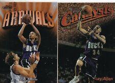 2 Cards - Ray Allen - Topps Finest Catalysts & Arrivals - Milwaukee Bucks
