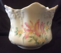 Fine Bone China From England Bowl Plant Pot Gold Trimmed FloralPreowned Repaired