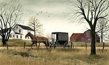 New Country Primitive Barn Farm AMISH HORSE BUGGY PICTURE Canvas Wall Hanging