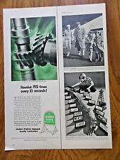 1953 Quaker State Motor Oil Ad  Engine Oil Pump gears Revolve 193 times