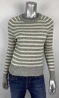 J.Crew Womens Sweater XS Wool Thin Knit Crew Neck Gray Striped Long Sleeve E5662