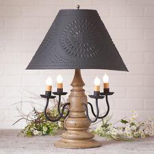 Harrison 4-arm Wooden Table Lamp w/ Tin Shade | Primitive Americana Lighting