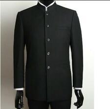 Fashion Men Traditional Jacket Mandarin Formal Collar Single Breasted Suit Coat