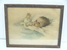 Vintage Old 664 Gutmann & Gutmann Bessie Pease USA Awakening Baby Color Print