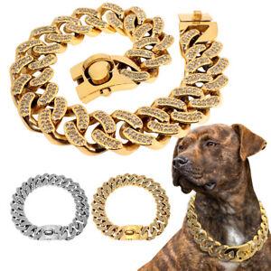 Stainless Steel Chain Dog Collar Heavy Duty Bling Diamante Choker Large Pitbull