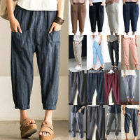 Women Cotton Linen Casual Harem Pants Elastic Waist Pockets Loose Trousers S-6XL