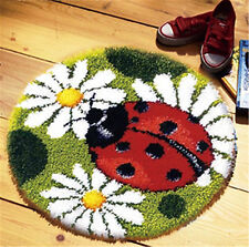 GEX Latch Hook Rug Kit About 19.6'' Cushion DIY Craft Embroidery Ladybug