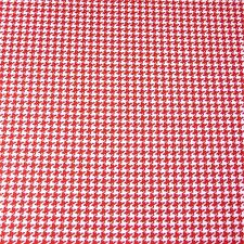 Red & White Small Houndstooth Print, Cotton Fabric, Per 1/2 Yd