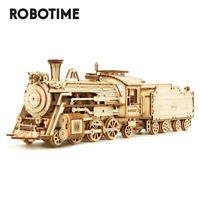 Robotime Laser Cut Train Model Kits 3D Wooden Puzzle Toy for Kids Boys 308pcs