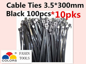 1000Pcs Black Electrical Nylon Cable Zip Ties (3.5mm x 300mm) UV Stabilised