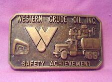 Western Crude Oil Inc. Safety Achievement Brass Buckle Size 3