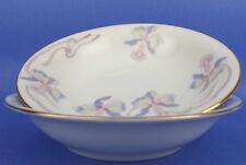 Bohemia Ceramic Work Czechoslovakia Orchid Iris 2 Fruit Dessert Bowls Vintage