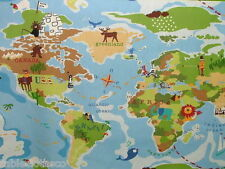 "1m/39"" WORLD MAP ATLAS wipeable oilcloth pvc wipe clean TABLE CLOTH CO"