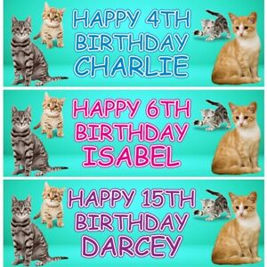 2 Personalised Cute Cat Birthday Party Celebration Banners Decoration Posters