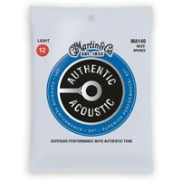 Martin MA140 80/20 Bronze Authentic Acoustic Guitar Strings, Light (12-54)