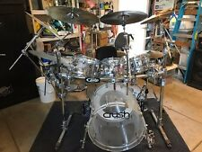 5 PIECE CRUSH CLEAR ACRYLIC DRUM SET COMPLETE
