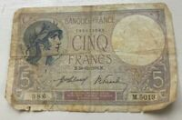 1918 France 5 Francs - World Banknote Currency