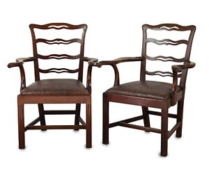 Pair of Chippendale Style 'Ladder Back' Elbow Chairs