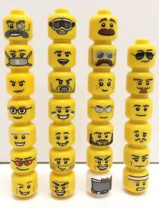 25 NEW LEGO Mini Figure Male Heads / 25 Different Faces