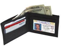 Black Genuine Leather Men's Bifold Wallet Front Pocket ID Credit Card Holder