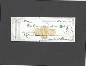 1874 THE GROCERS AND PRODUCERS BANK,PROVIDENCE,RI BANK CHECK RN-C1