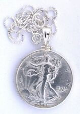 "1941 WALKING LIBERTY SILVER HALF DOLLAR PENDANT STERLING BEZEL18"" ITALIAN CHAIN"