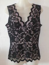 PORTMANS Size S Black Lace Top - Lace Overlays Flesh Coloured Stretch Fabric