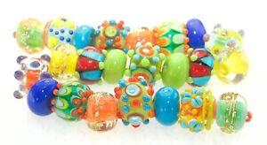 OliveStuart Handmade Lampwork Beads 23 bright round/cube
