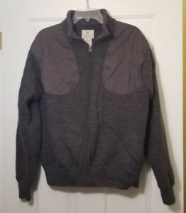Beretta Gray Wool Full Zip Sweater Shooting Jacket Men's Sz M Chest Patches