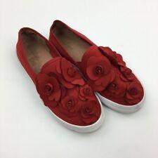 Caslon Women's Alden Red Floral Embellished Slip on Sneaker Size 8.5
