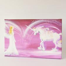 """Engelbild mit Einhorn """"Berührung des Herzens"""" Wandbild mit Engel in Lila"""