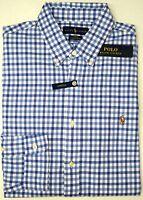 NEW $98 Polo Ralph Lauren Stretch Oxford Long Sleeve Shirt Mens Blue Plaid Slim