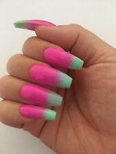 *Hand Painted Press On False Nails Pink Mint Green Blend Long Coffin Gel Polish*
