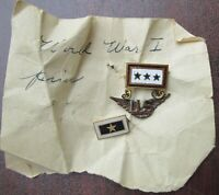 Rare WWI ARMY AIR CORP 3 Sons in Air Service, One Killed with Gold Star Pin