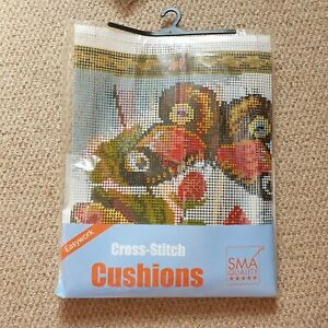 SMA Quality Cross Stitch Cushion Kit Butterflies 40x40cm
