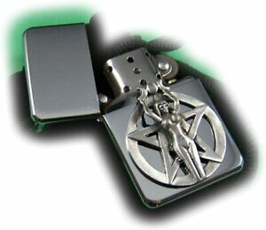 Stoneys Badges PENTAGRAM and GIRL Petrol Lighter in Pouch Pagan Witch Devil