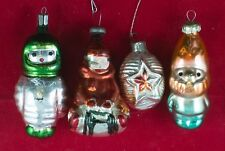 LOT OF 4 VINTAGE CHRISTMAS ORNAMENT DECORATION USSR RUSSIAN SOVIET GLASS 711-9