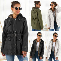 Women's Winter Warm Thick Parka Ladies Fur Lined Jacket Hooded Belted Coat USA