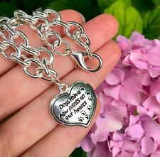 Dogs Leave Paw Prints Charm BRACELET Sterling Silver Plt Memorial Gift Puppy Dog