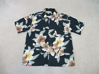Tommy Bahama Button Up Shirt Adult Extra Large Black Green Silk Casual Mens B63*