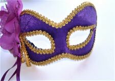 MASQUERADE HALLOWEEN CARNIVAL PURPLE & GOLD EYE MASK WITH FLOWER HEN PARTY NEW
