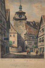 Wilhelm Schacht alte Radierung Rothenburg Tauber Weisser Turm