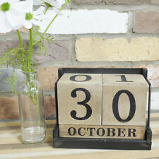Industrial Vintage Wood & Metal Desk Office Perpetual Date Block Calander Gift